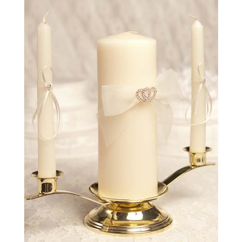 Rhinestone Hearts Wedding Unity Candle & Taper Set
