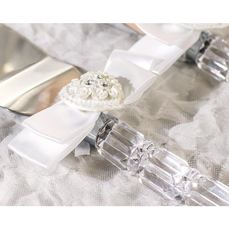 Rhinestone Pearlized Heart Rose Bouquet Wedding Cake Server Set