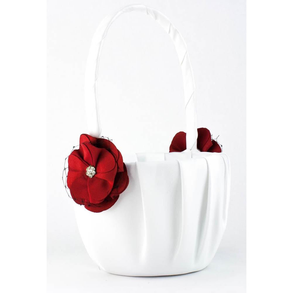 Red and Black Rose Wedding Flowergirl Basket