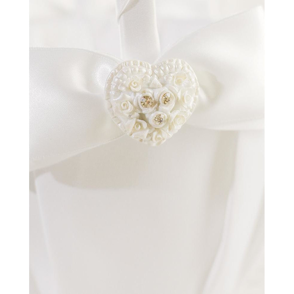 Rhinestone Pearlized Heart Rose Bouquet Wedding Flowergirl Basket
