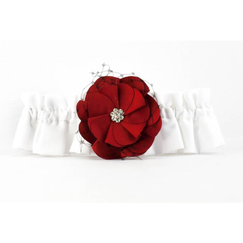 Red and Black Rose Wedding Garter