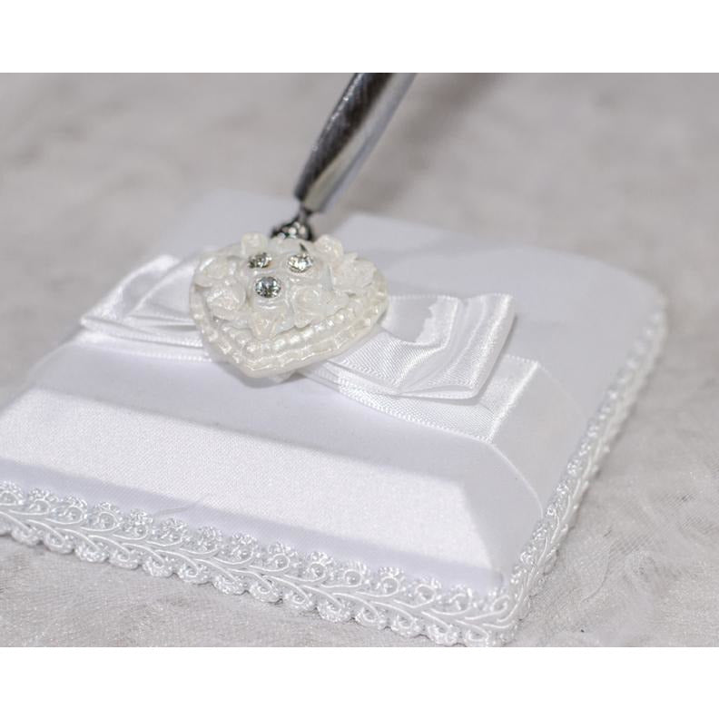 Rhinestone Pearlized Heart Rose Bouquet Wedding Guestbook and Pen Set