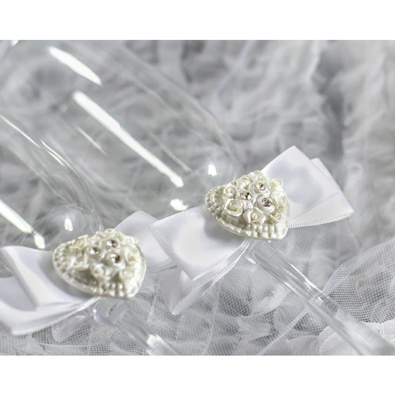 Rhinestone Pearlized Heart Rose Bouquet Wedding Toasting Glasses