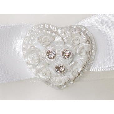 Rhinestone Pearlized Heart Rose Bouquet Wedding Unity Candle Set