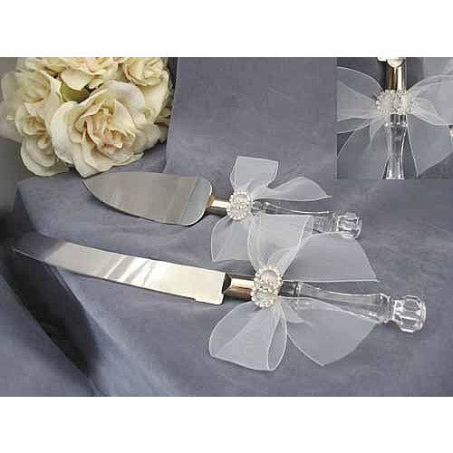 Rhinestone Rings Wedding Cake Server Set