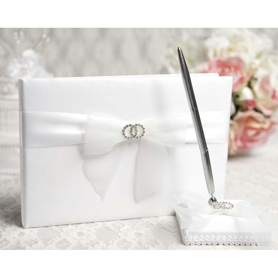 Rhinestone Rings Wedding Guestbook and Pen Set