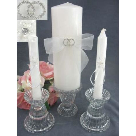 Rhinestone Rings Wedding Unity Candle Set