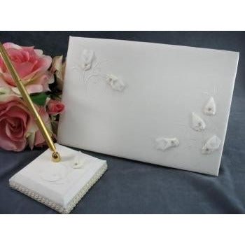 Rhinestone Rosebud Wedding Guestbook and Pen Set