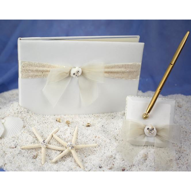 Rhinestone Shell Hawaiian Beach Wedding Guestbook and Pen Set