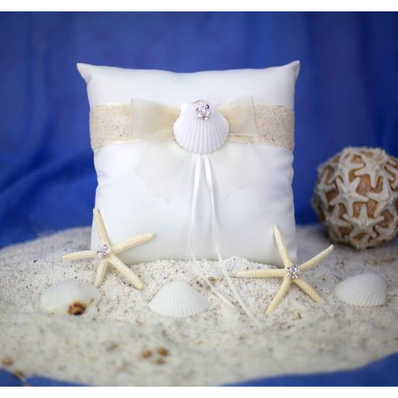 Rhinestone Shell Hawaiian Beach Wedding Ring Bearer Pillow