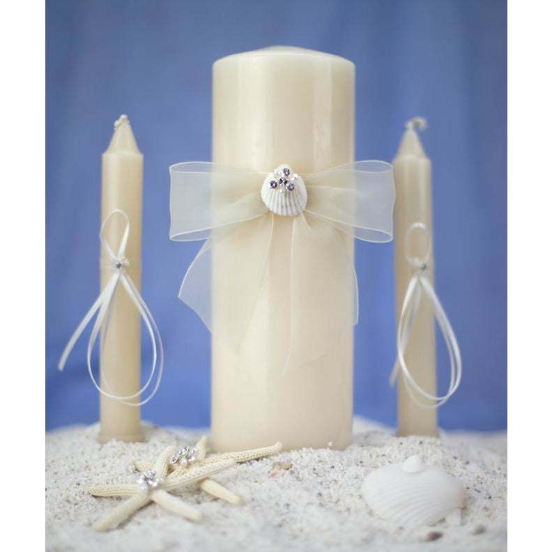Rhinestone Shell Hawaiian Beach Wedding Unity Candle Set