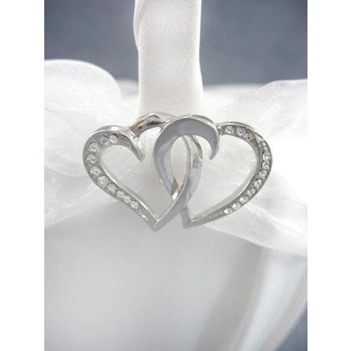 Rhinestone Stylized Hearts Wedding Flowergirl Basket