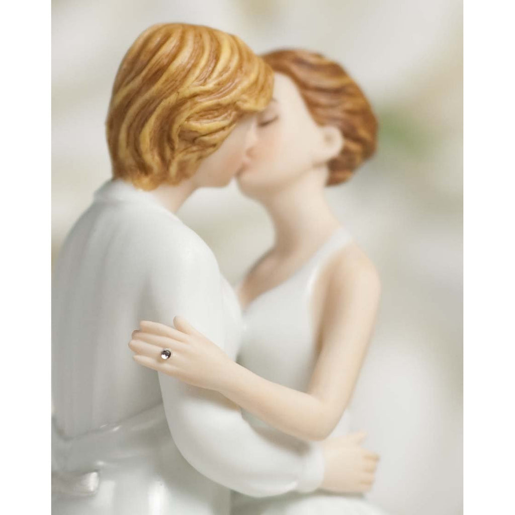 Romance Gay Lesbian Rose Pearl Wedding Cake Topper