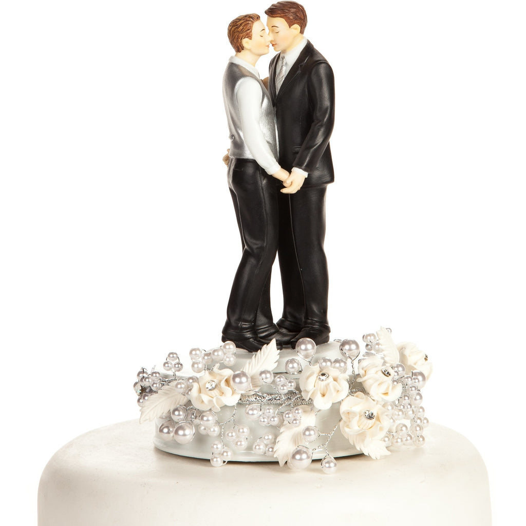 Romance Gay Rose Pearl Wedding Cake Topper (Silver or Gold)