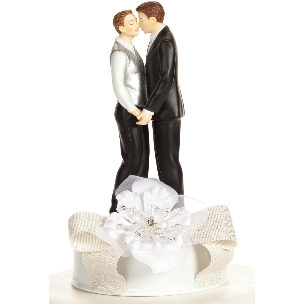 Romance Ribbon Accent Gay Couple Cake Topper