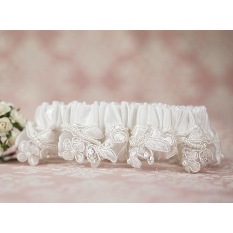 Floral Applique Wedding Garter