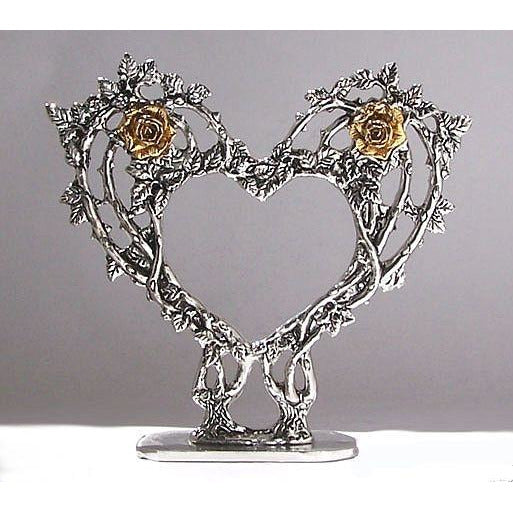 Rose Heart Pewter Cake Topper