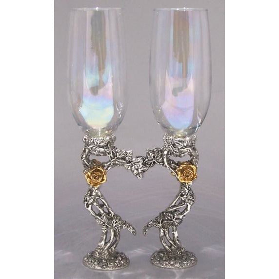 Rose Heart Wedding Toasting Glasses Set