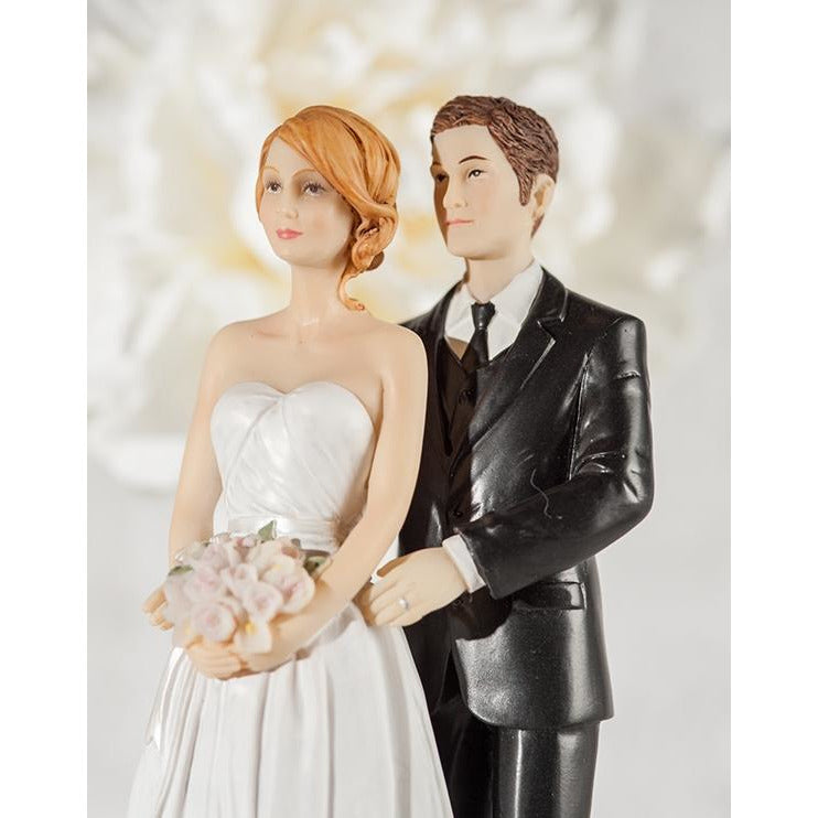 Embroidered Silver Bride and Groom Wedding Cake Topper - Groom in Navy Suit