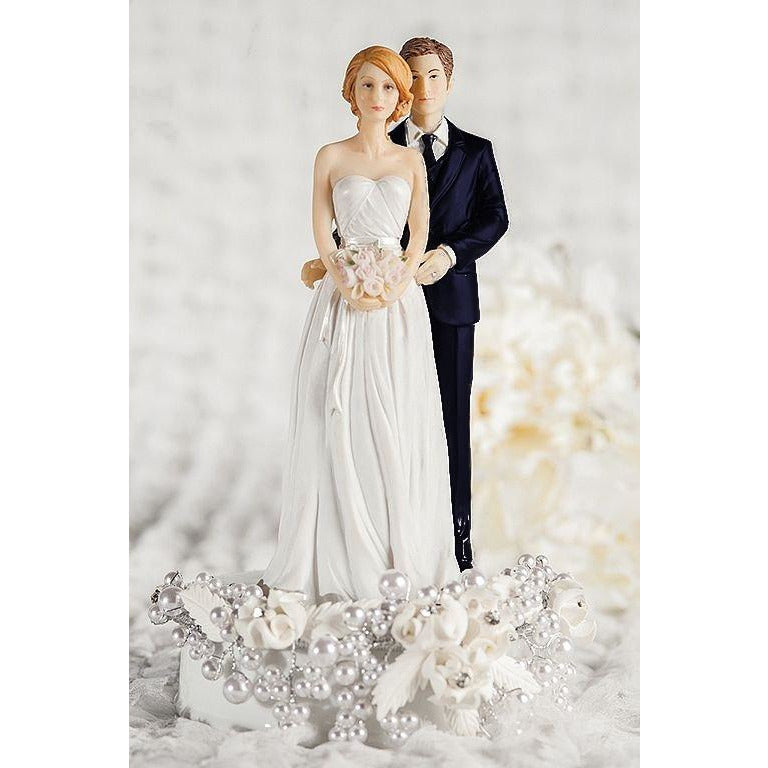 Rose Pearl Bride and Groom Wedding Cake Topper - Groom in Navy Suit