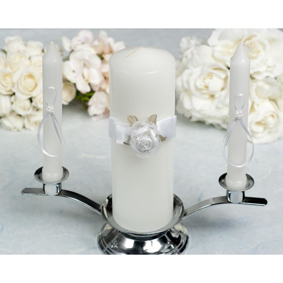 Rose Plush Satin and Organza Wedding Unity Candle Set