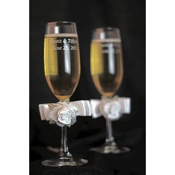 Rose Plush Satin and Organza Toasting Glasses