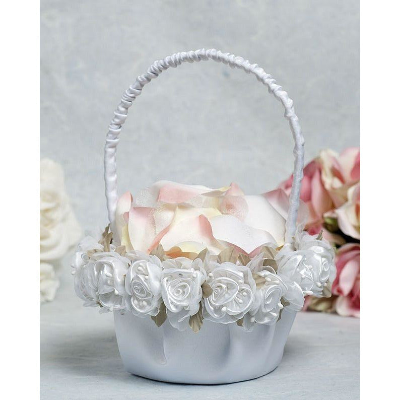 Rose Plush Satin and Organza Wedding Flower Girl Basket