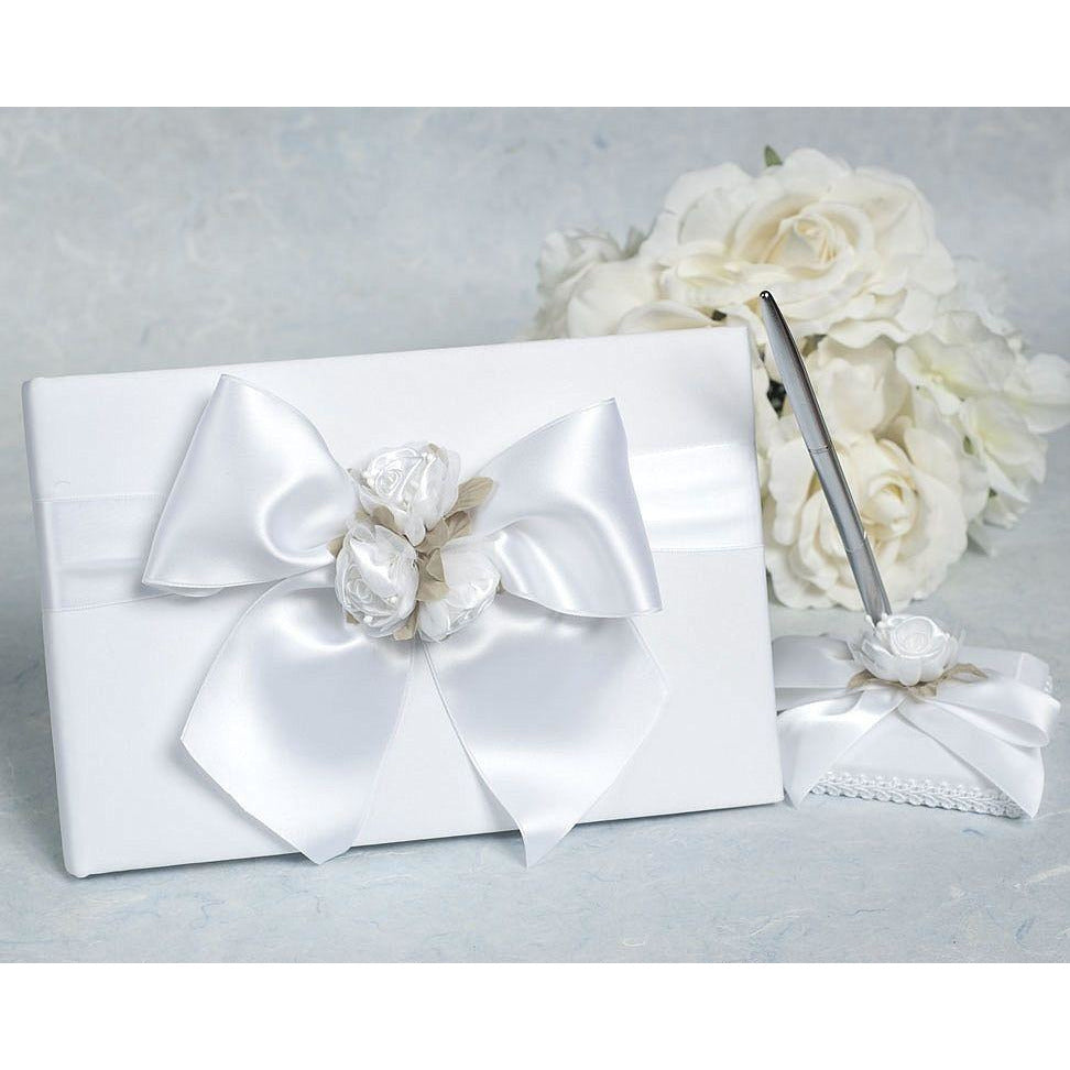 Rose Plush Satin and Organza Wedding Guestbook and Pen Set