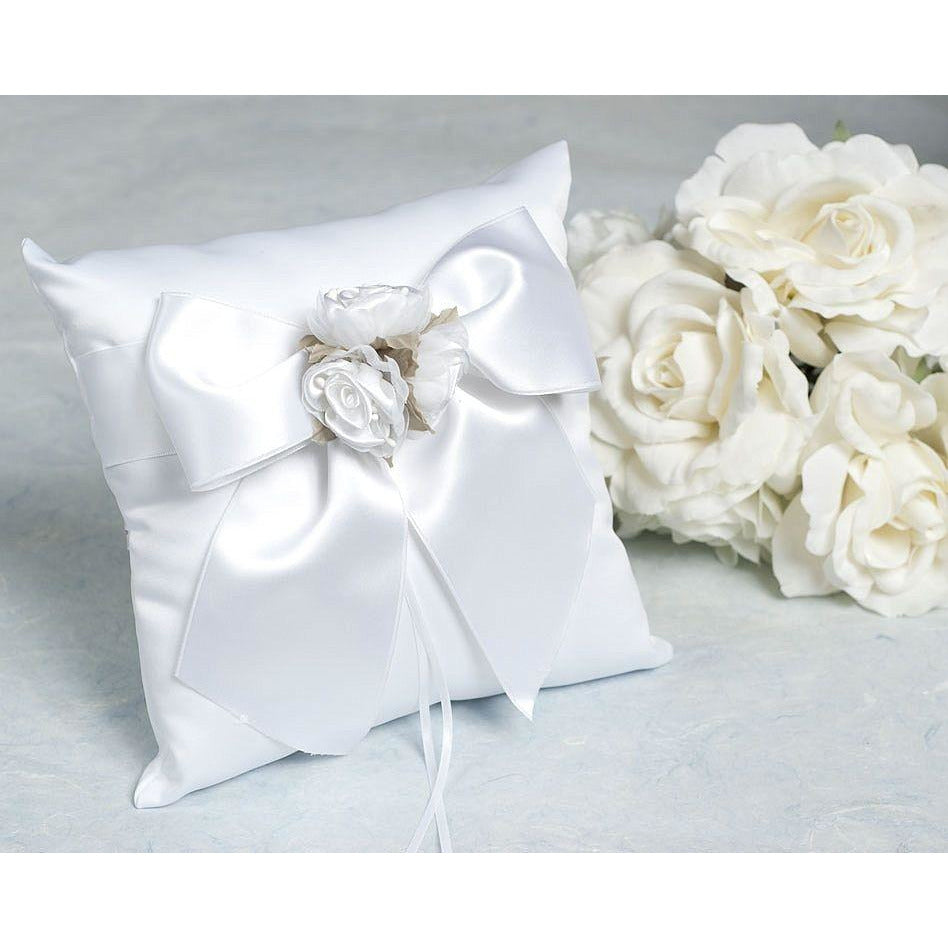 Rose Plush Satin and Organza Wedding Ringbearer Pillow