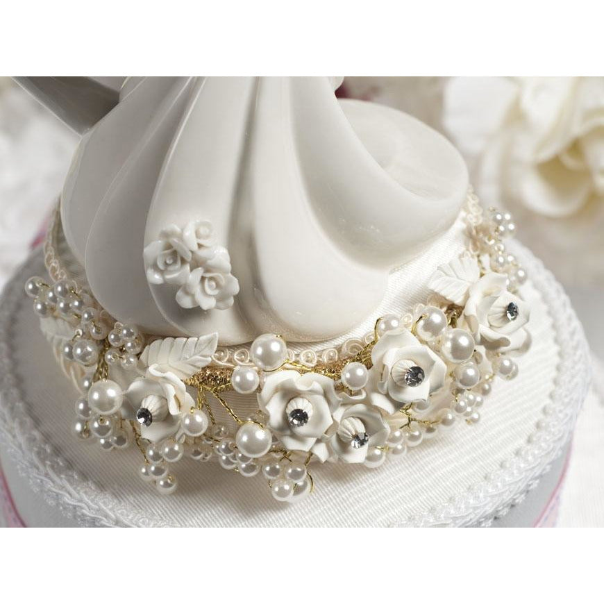 Rose and Pearls Bride and Groom Cake Topper (Silver or Gold)