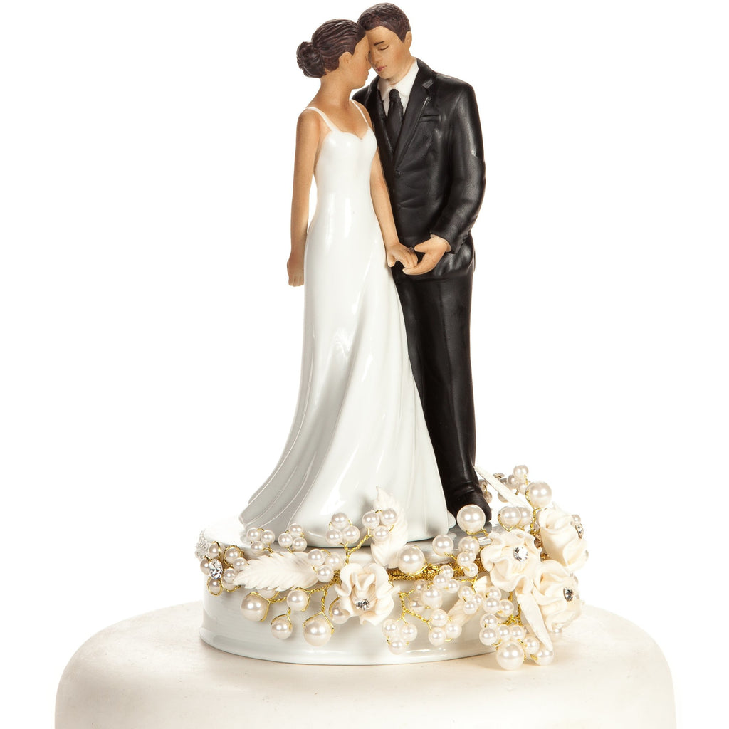 Rose and Pearls Elegant African American Cake Topper (Silver or Gold)