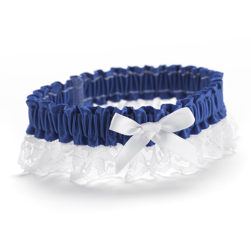 Royal Blue Ribbon & Lace Garter
