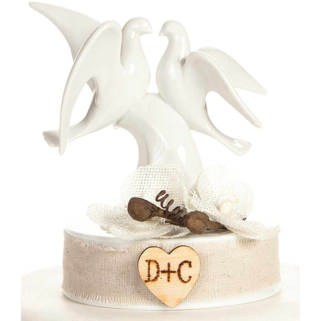 Rustic Dove Cake Topper - White Burlap Flowers