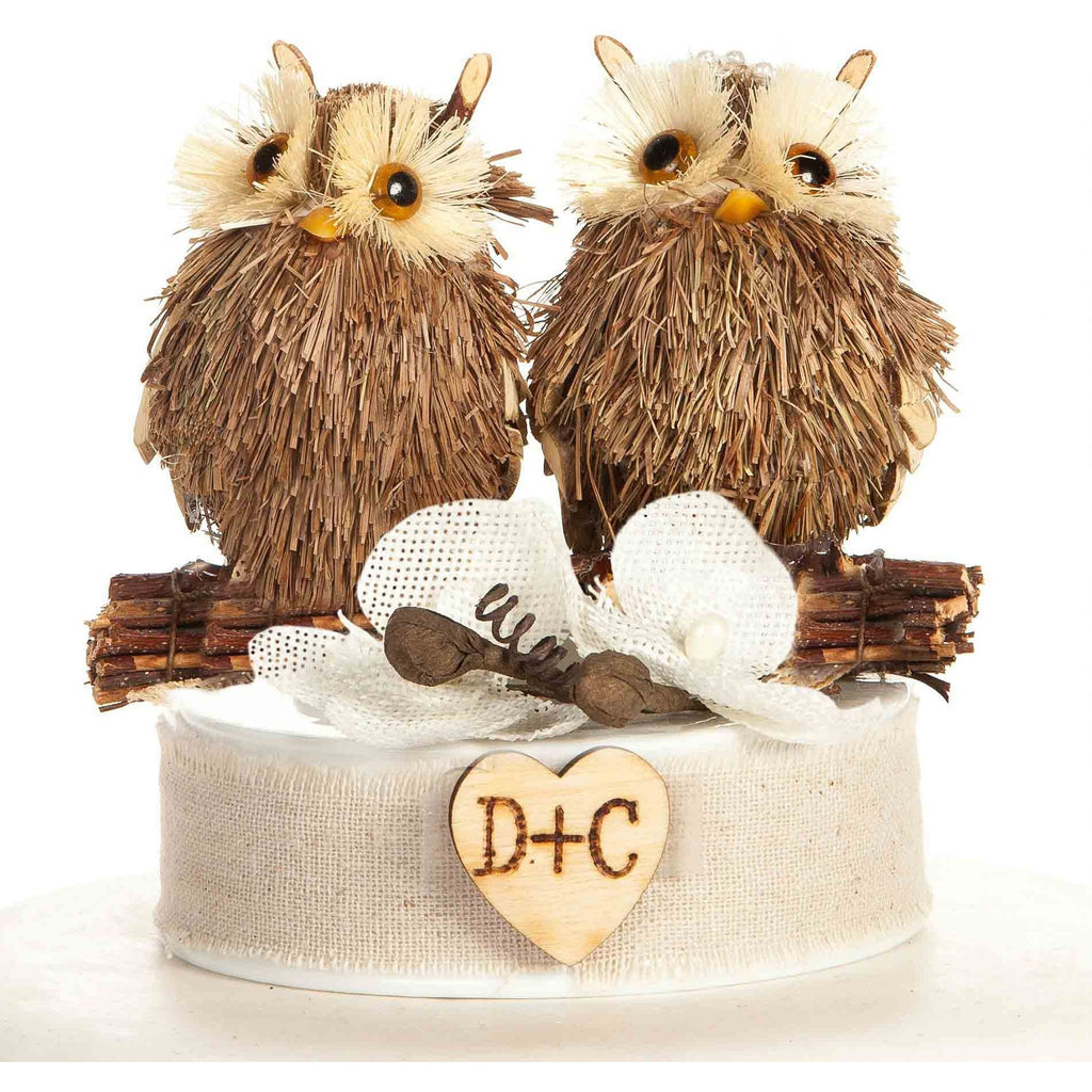 Rustic Owl Cake Topper - Brown Burlap Flowers
