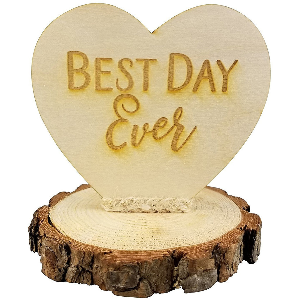 Rustic Wood Best Day Ever Wedding Cake Topper