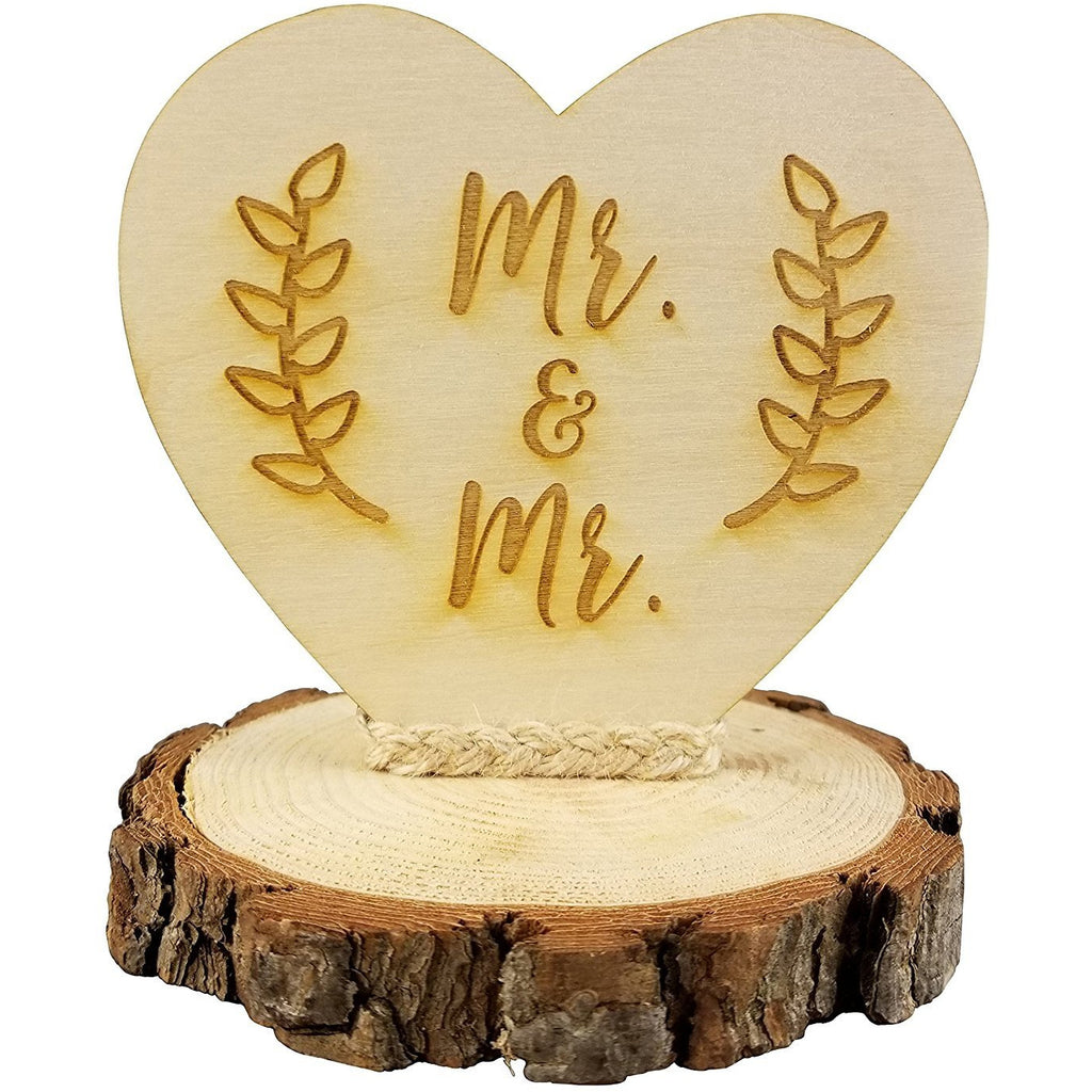 Rustic Wood Mr. & Mr. Gay Wedding Cake Topper
