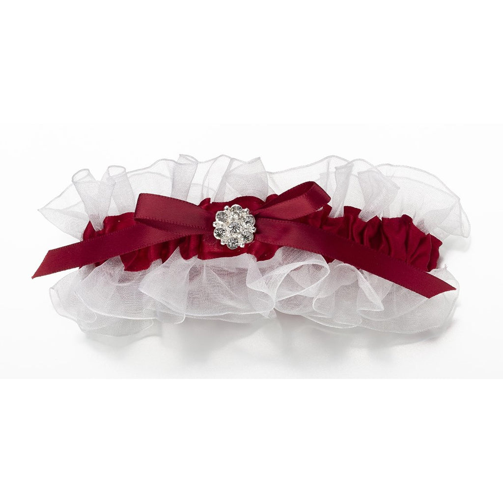 Satin Garter w/Rhinestone - Red