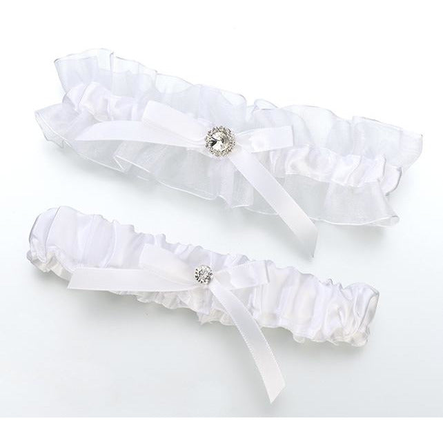 Satin Rhinestone Garter Set-White