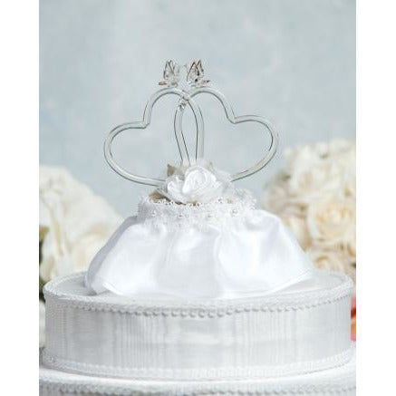Satin Rose Hearts Wedding Cake Topper