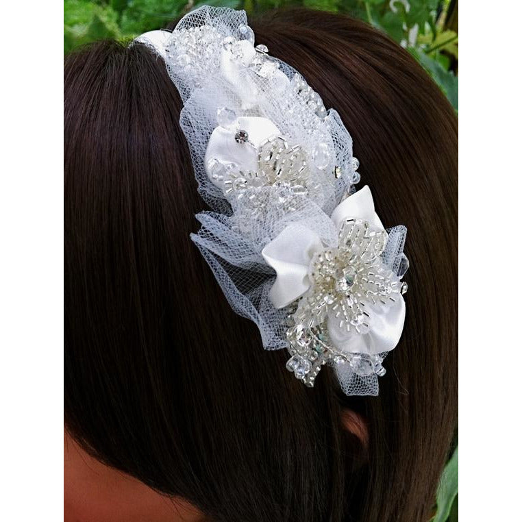 Satin and Crystals Beaded Ivory Headband