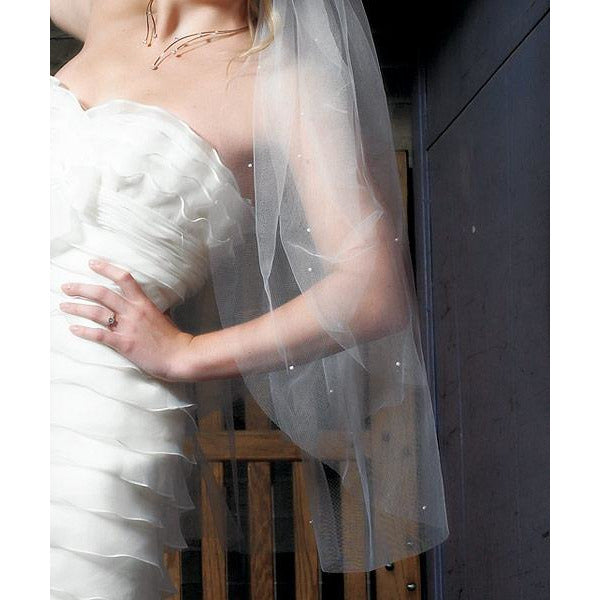 Ivory Scattered Pearl Border & Cut Edge Veil