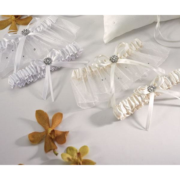 Scattered Pearls & Crystals Two Piece Bridal Garter Set