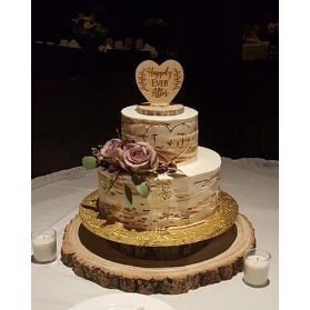 Rustic Wood Happily Ever After Wedding Cake Topper