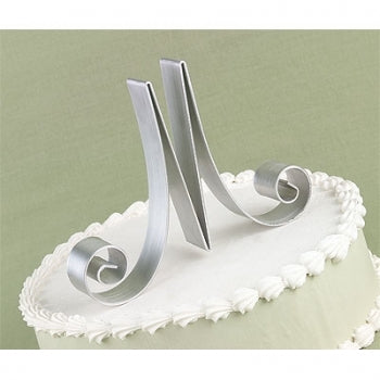 Script Metal Monogram Cake Topper