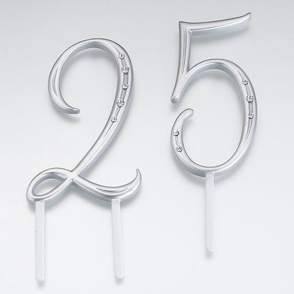 Script Number Monogram Cake Topper Silver (Numbers 0-9)
