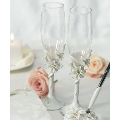 Sculptural White Tiger Lilies Toasting Set