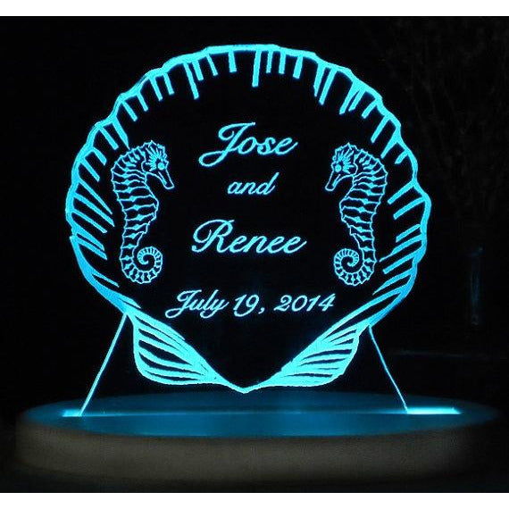 Seahorse Beach Light-Up Wedding Cake Topper