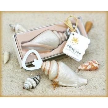 """Shore Memories"" Sea Shell Bottle Opener with Thank you Tag"