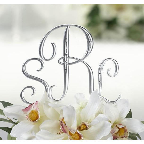 Silver Finish with Rhinestones Monogram Cake Topper