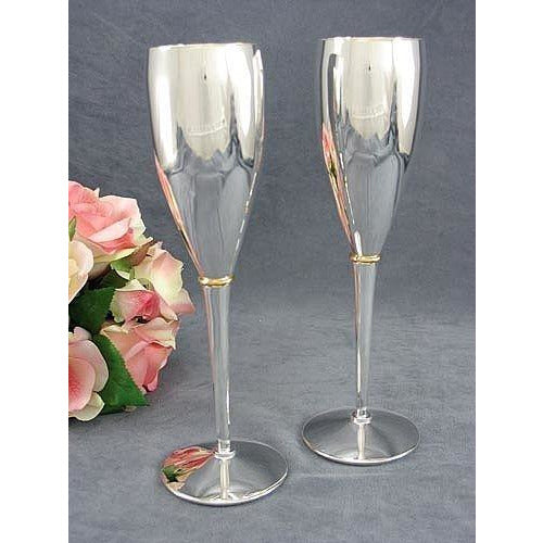 Silver Golden Ring Wedding Toasting Glasses